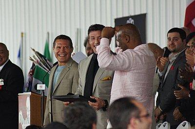 Julio Cesar Chavez, Sylvester Stallone, Mike Tyson ©Kevin Blatt / ONTHEGRiNDBOXiNG.