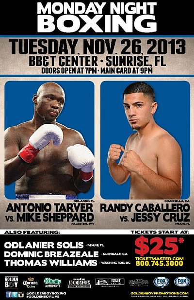 Tarver vs. Sheppard ©Golden Boy Promotions.